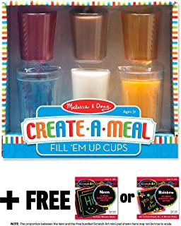 Melissa & Doug Fill 'Em Up Cups: Create-A-Meal Play Set & 1 Scratch Art Mini-Pad Bundle (09542)