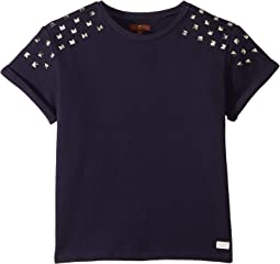 Cropped French Terry Sweatshirt with Studs (Big Kids)