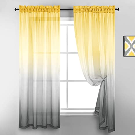 Yellow And Grey Curtains 63 Inch Length For Bedroom 2 Panels Set Window Ombre Pattern Sheer Curtains For Living Room Kitchen Decor Bright Yellow And Light Gray Amazon Ca Home