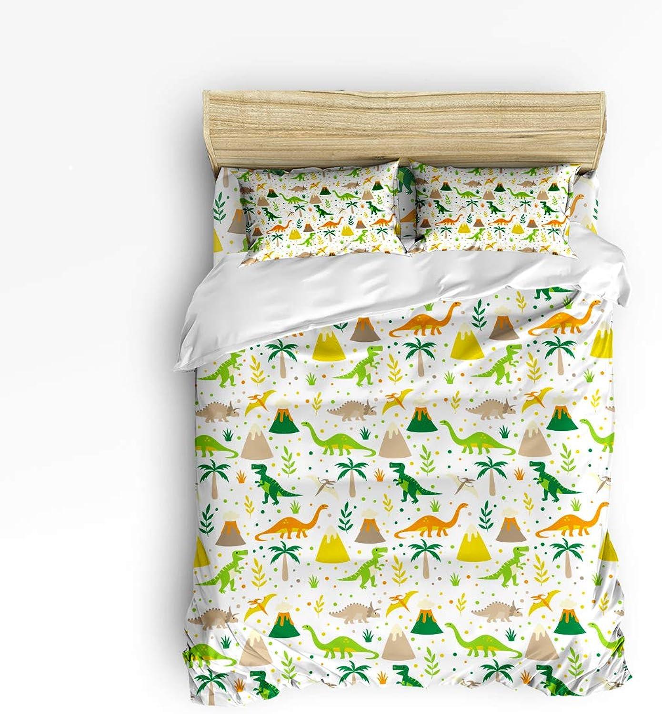 Fandim Fly Bedding Set Twin Size, Cute Dinosaurs Cartoon Pattern Print Kids,Comforter Cover Sets for All Season