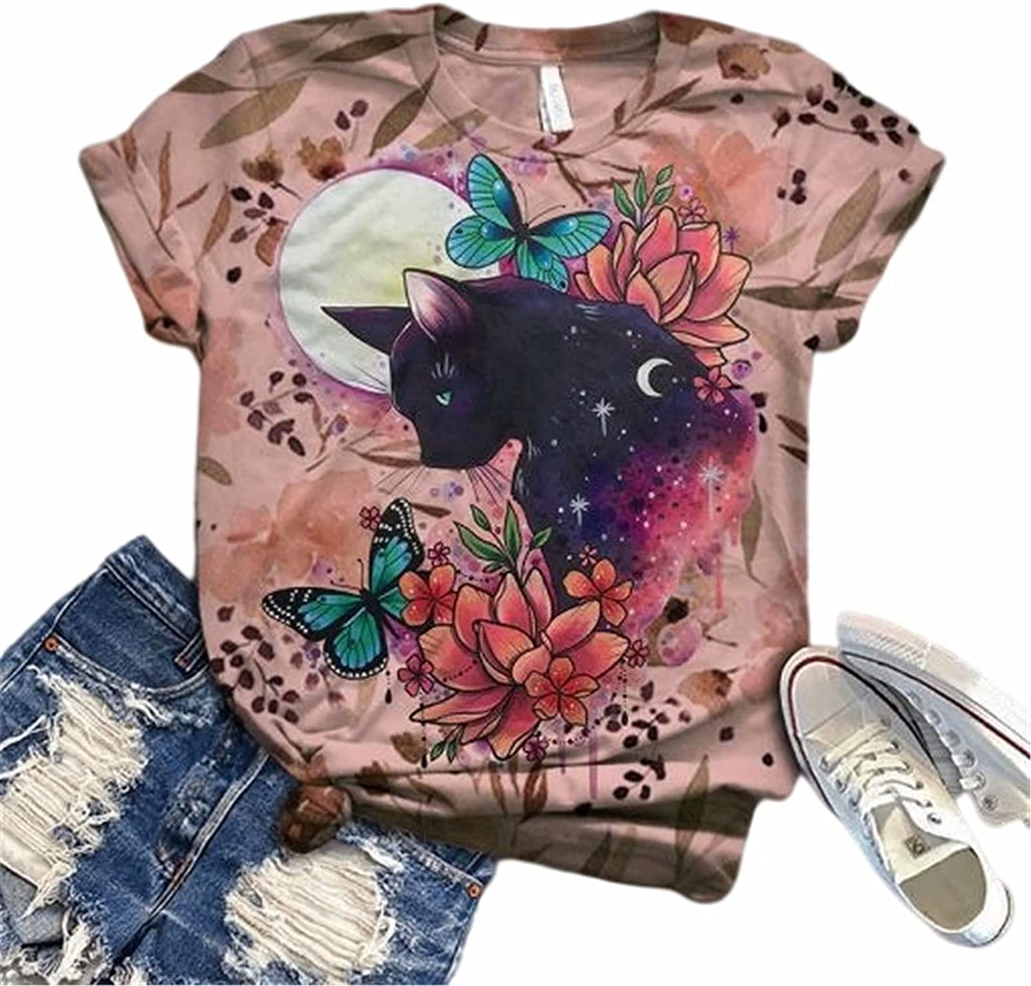 Hami House Graphic Tees for Women Casual Tops Novtly Pattern 3D Animal Print Short Sleeve O-Neck Tops Plus Size Blouse