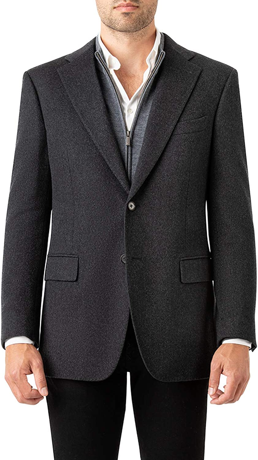 CARDINAL OF CANADA Men's Blazer, 100% Italian Cashmere Button Front Sport Coat - Stylish Casual and Business Jacket for Men