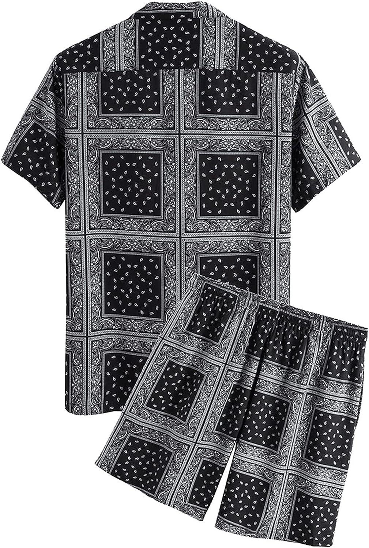 Tealun Hawaiian Print Short Sleeve Shirt Set Men Causal Blouse Shorts Suit Summer 2 Piece Clothing Daily Beach Shirt Set