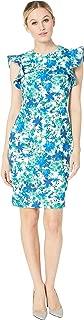 Calvin Klein Womens Floral Print Ruffle Arm Sheath Dress