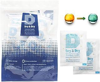 Dry & Dry 5 Gram [100 Packs] Food Safe Silica Gel Orange Indicating(Orange to Dark Green) Mixed Silica Gel Packets - Recha...