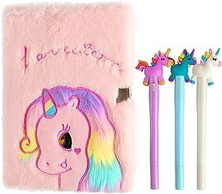 InkExpress Diary for Girls Plush Unicorn Secret Diary with Lock for Girl Unicorn Notebook with 3 Pieces Random Unicorn Glo...