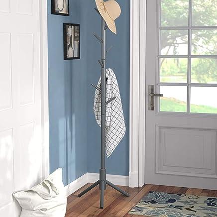 Vlush Coat Rack Free Standing,  Coat Hat Tree Coat Hanger Holder Stand for Clothes, Scarves, Handbags, Umbrella-(8 Hooks, Grey)