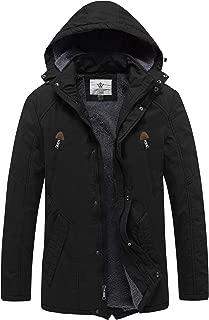 WenVen Men's Winter Warm Sherpa Lined Parka Jacket with Detachable Hood
