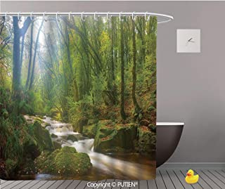 PUTIEN Funky Shower Curtain [ Woodland Decor,Forest Scene at Golitha Falls Nature Reserve on The River Fowey Cornwall England, Bathroom Accessories Bathroom Curtain Ideas,72