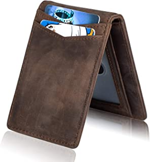 Mens RFID Blocking Front Pocket Minimalist Slim Bifold Genuine Leather Wallet Pull Tab Money Clip (Vintage Texas Brown)