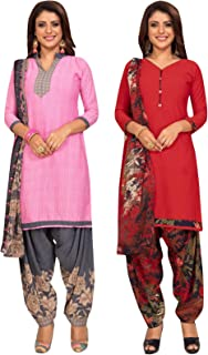 S Salwar Studio Women's Pack of 2 Synthetic Printed Unstitched Dress Material Combo-MONSOON-2862-2866
