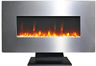 Cambridge CAM36WMEF-1SS 36 In. Metallic Electric Fireplace in Stainless Steel with Multi-Color Crystal Rock Display