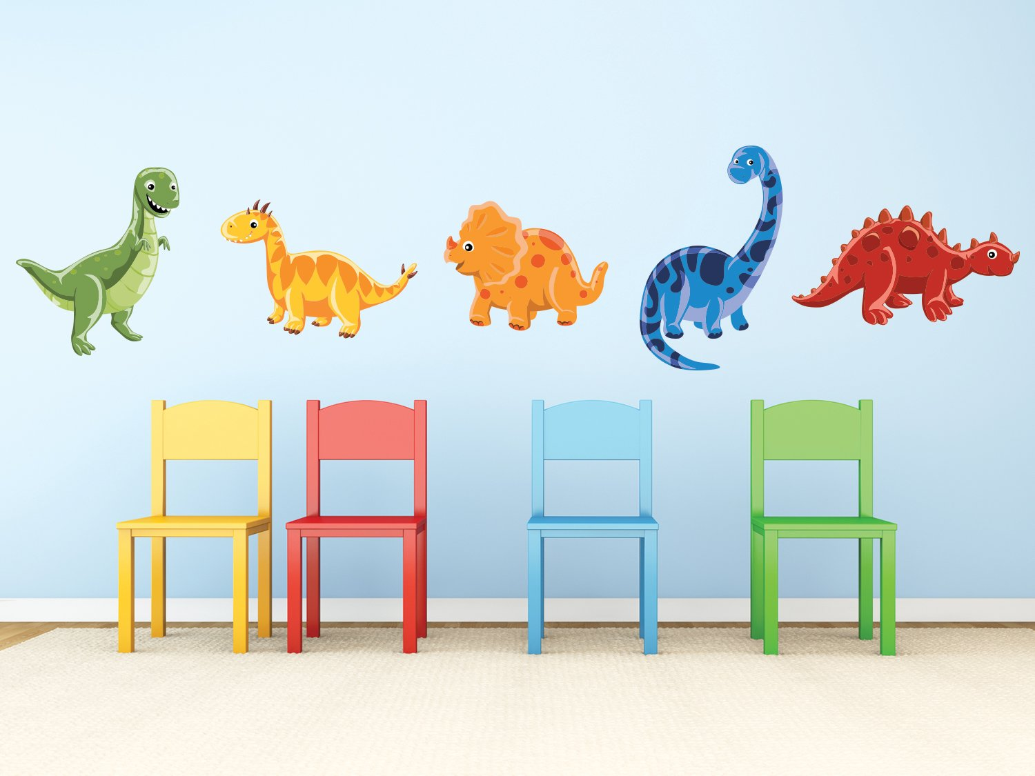 Sunny Decals Dinosaur Fabric Wall Decals (Set of 5)