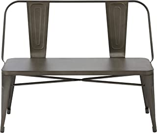 BTEXPERT Industrial Dining Chair Steel Frame bench, Bronze Metal, 5061CC