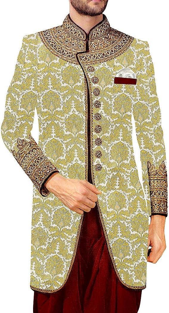 INMONARCH Mens Kurta for Jeans Cream Indowestern Embroidered 9 Button Sherwani IN513