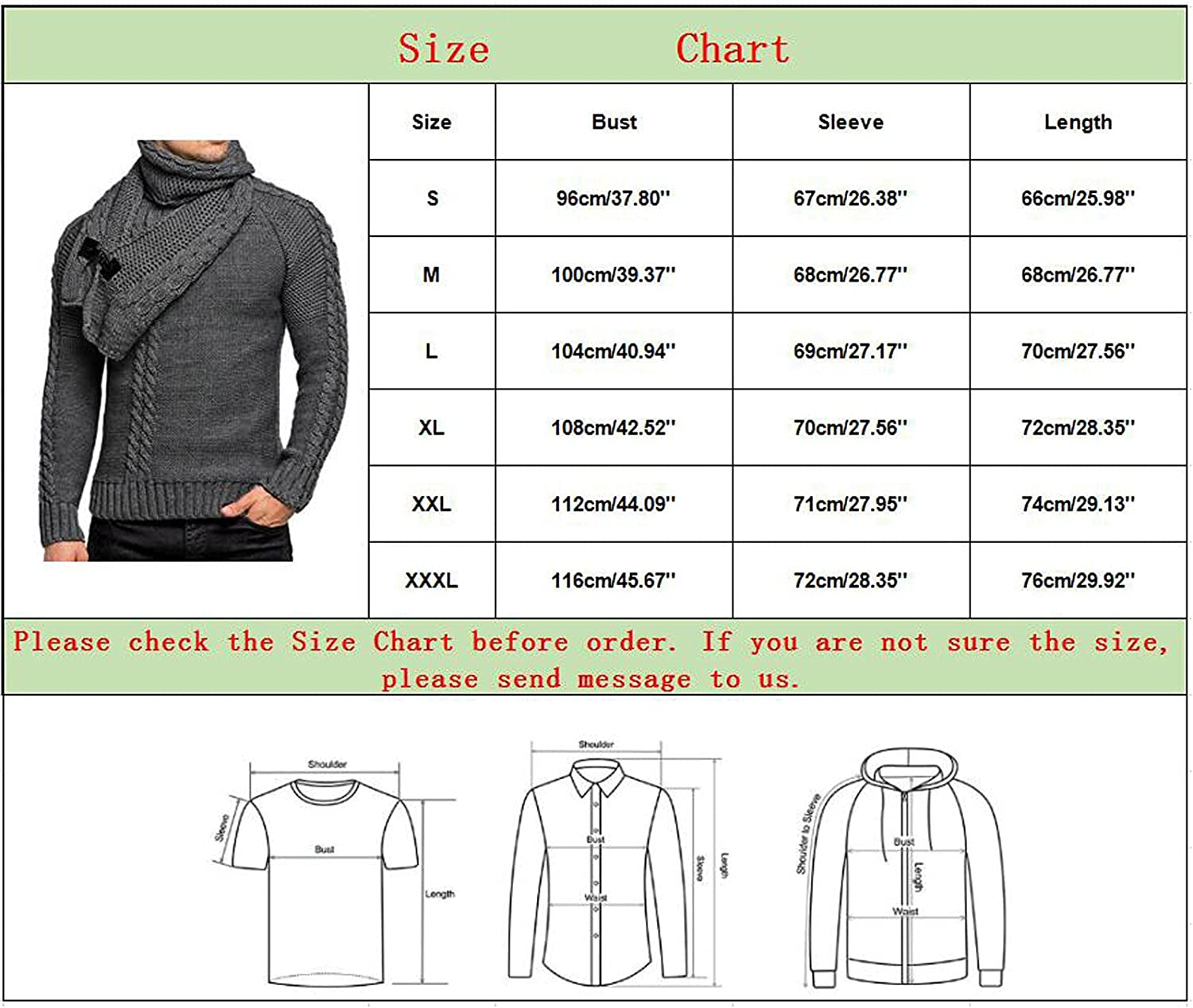 Huangse Men's Sweater and Scarf 2 Piece Sets Slim Fit Turtleneck Wool Blend Sweater Casual Twisted Knitted Pullover Sweaters