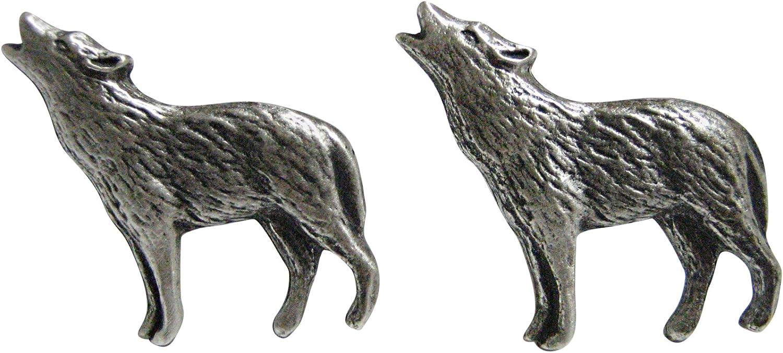Small Textured Wolf Pendant Cufflinks
