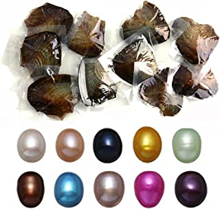 10 PC Freshwater Cultured Pearl Oyster Oval Pearls oysters with pearls inside Ten Colors (7.5-8mm)