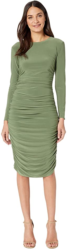 Long Sleeve Shirred Dress