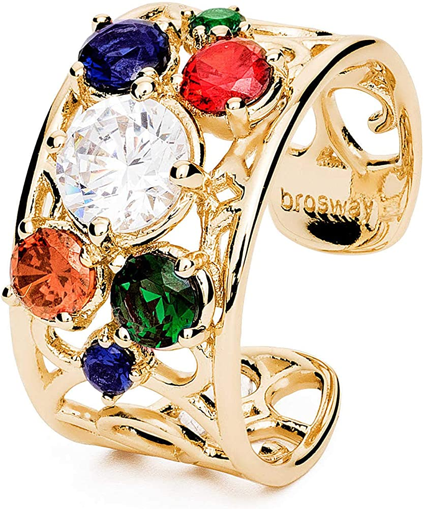 Brosway corinto trendy anello per donna  in ottone con finitura in galvanica oro e zirconi BOI32