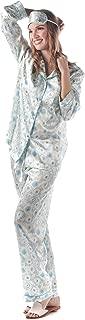 Long Sleeve Satin Pajamas for Women – Two Piece Pajama Set + Eye Mask