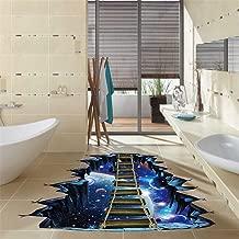 WOCACHI 3D Bridge Star Universe Planet Wall Stickers Decals Wall Decals World Removable Sticker Inspiration Art Decor Art Mural Wallpaper Peel & Stick Removable Room Decoration Nursery Decor (H)
