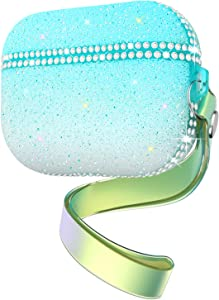 Goton Compatible AirPods 3 Pro Case Cover Bling, Glitter Girls Women Cute Luxury Diamond Gradient Case with Keychain Soft Shockproof Protective Carrying Case for Apple AirPods Pro 2019 (Teal)