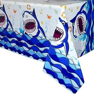 WERNNSAI Shark Party Tablecloth - 1 PCS 71'' x 43.3'' Rectangular Disposable Plastic Table Cover Shark Splash Decorations for Boys Kids Birthday Baby Shower Pool Blue Ocean Shark Theme Party Supplies