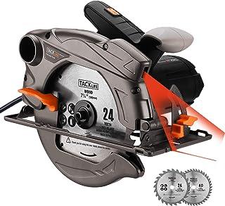 comprar comparacion 1500W 4700RPM Sierra Circular, Corte 63mm (90º), 45mm (45º), 24T+40T Cuchilla, Guía Laser, Motor de Cobre Puro, Cable de 3...
