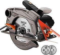 Sierra circular TACKLIFE 1500W 4700 RPM con láser, 2 hojas (185 mm), profundidad y ángulo de corte ajustables: 45 mm (45 °) - 63 mm (90 °), conexión de succión, Cortar Madera y Metal etcmadera--PES01A