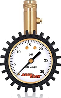 Accu-Gage Low Pressure Tire Gauge with Protective Rubber Guard, Straight Chuck, 30psi