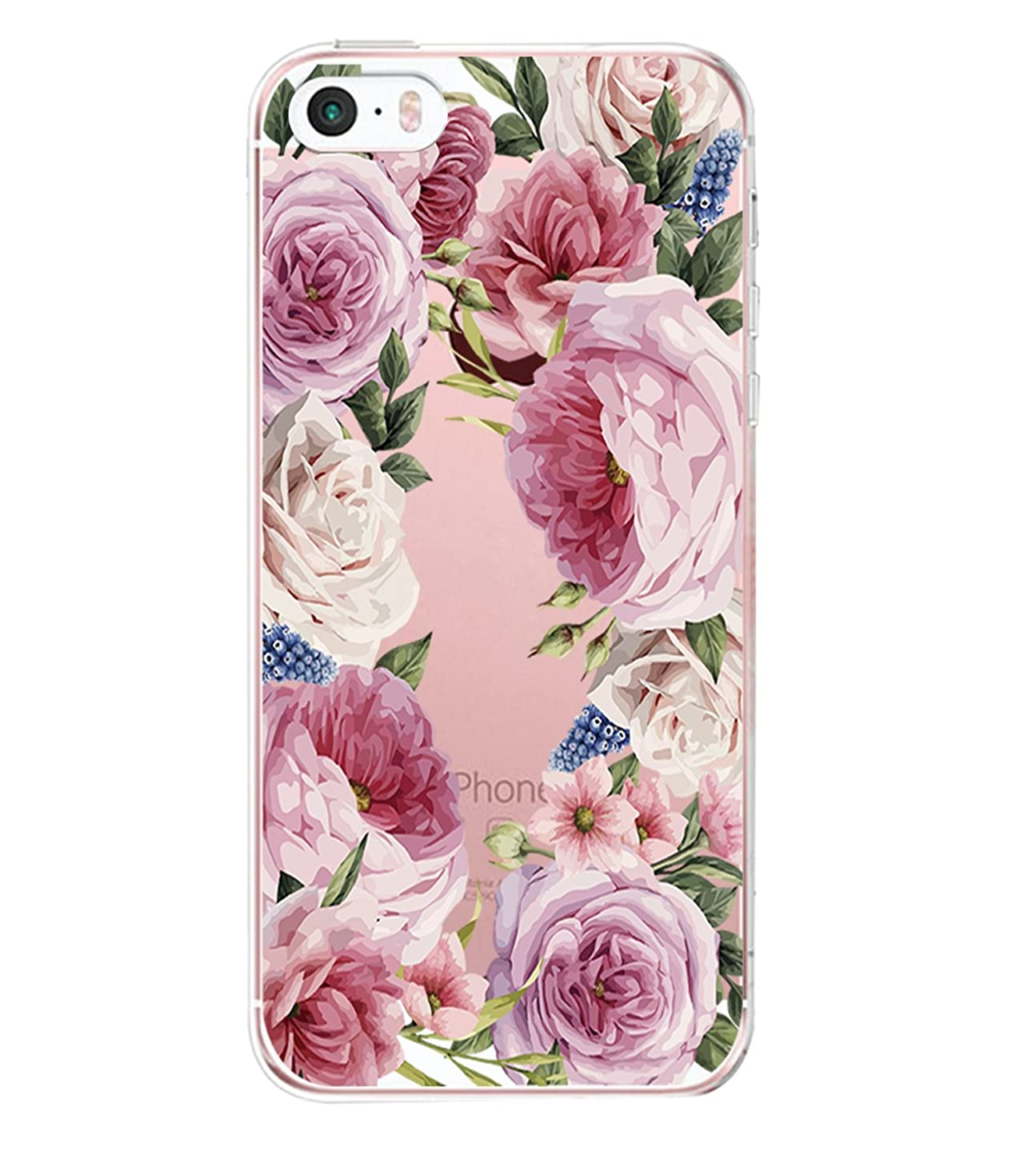 iPhone 5/5s/SE Case for Girls TPU Anti Scratch Slim Ultra Protective Clear Case