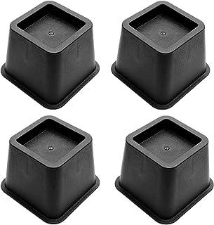 ToPicks - Juego de 4 elevadores de cama resistentes de 7,6 cm para muebles, sillas, sillas, sofás, elefantes, patas de elefante, color negro