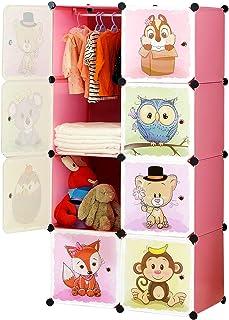 BRIAN & DANY Meuble Rangement Enfant avec Motifs d'animaux, Support de Rangement, Armoires Etagères Plastiques, Armoire de...