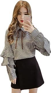 YiTong レディース ワイシャツ 春 ブラウス 長袖 シフォン チェック柄 おしゃれ トップス リボン 可愛い 甘い 森ガール スリム フリル 通勤通学 ファッション