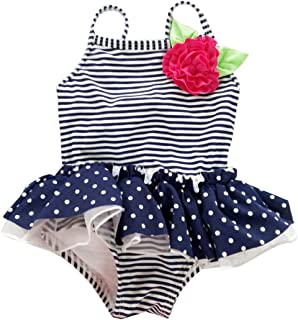 f10e38016be22 eKooBee Newborn Infant Baby Girls Swimwear One Piece Stripe Swimsuits Tutu