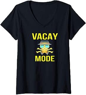 Womens VACAY MODE - PIRATE SKULL CROSSBONES SUNGLASSES VACATION - V-Neck T-Shirt