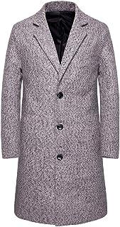 Chunmei Cappotto da Uomo Lana Slim Fit a Maniche Lunghe Cappotto da Lavoro Slim Lungo Giacca a Vento a Bottoni Outwear Cal...