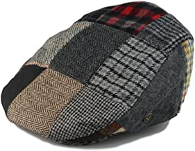 Mens Winter Plaid Tweed Flat Ivy Driver Hat Cabbie Patch Work Ivy Cap M, L, XL