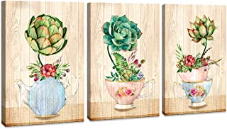 3 Piece Canvas Wall Art Wood Color Watercolor Green Plant Flowers Canvas Artwork Modern Vase Plant Decor for Bedroom Bathroom Kithen Wall Decor Home Art Wall Decoration (Plant, 12x16inchx3)