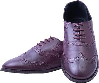 Iron Tailor Ladies Brogue Burgundy Genuine Leather Shoe