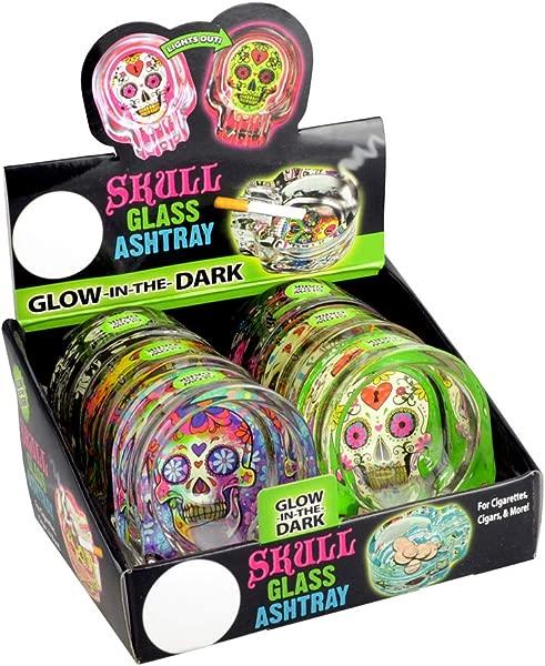Novelty Inc 6pc Display Glow Sugar Skull Glass Ashtray 2 75 X3 75