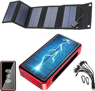 Vikbar solladdare 50000mAh, utomhus 22,5W solenergibank med 5 solpaneler, 6 utgångar och 4 ingångar vattentät laddare bärb...