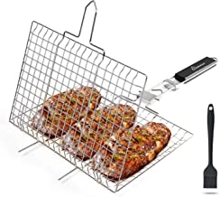 WolfWise Portable 430 Stainless Steel Portable BBQ Grilling Basket for Fish Vegetable Steak Shrimp with an Additional Basting Brush