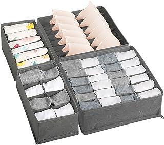 LEADSTAR Organisateur de Tiroir, Lot de 4 Rangement sous Vetement Pliables pour Soutiens-Gorge, Culottes, Cravates, Echarp...