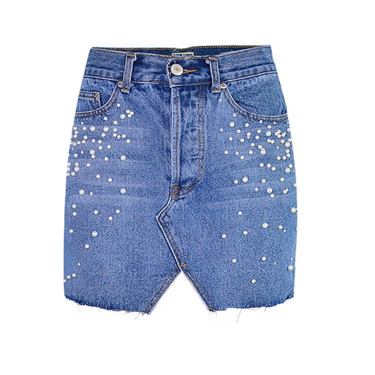 改修素敵な所属デニムスカート レディース春夏モデルA Wordのハイウエストのブレストトライアングルカットパールダイヤモンドスタッズデニムバッグヒップスカート 美脚効果 使い回し 抜群 (Color : Blue, Size : XX-Large)