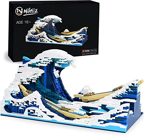 discount Nifeliz Home The Great Wave Building Block Set. Assembly Construction Toy, Display for high quality Home. Educational DIY Building Block Assembly Construction Toy, Gift for discount Adults and Kids, New 2021(1830 Pcs) online sale