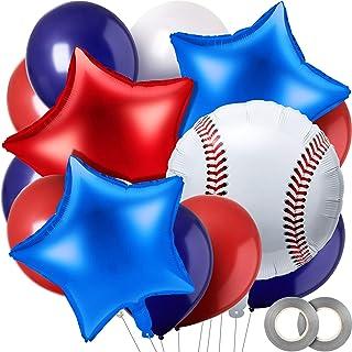 48 Pieces Baseball Foil Balloon Baseball Shape Mylar Balloons Set for Baseball Themed Party, Birthday Party, Sports Party ...