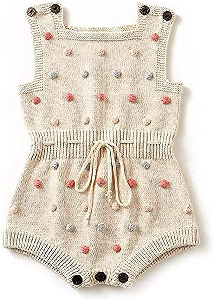 San Jose Mall Askwind Ranking integrated 1st place Baby Girls Knit Striped Polka Cute Dot Slee Strap Romper