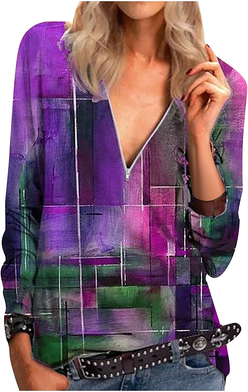 Akklian Zipper Long Sleeve Shirts for Women Autumn Casual Irregular Print Sexy V Neck Fashion Tops Blouses Tee T Shirts